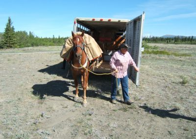 Mabel unloading horse from trailer